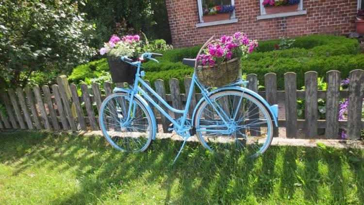 bild vorgarten idee dekorativ fahrrad