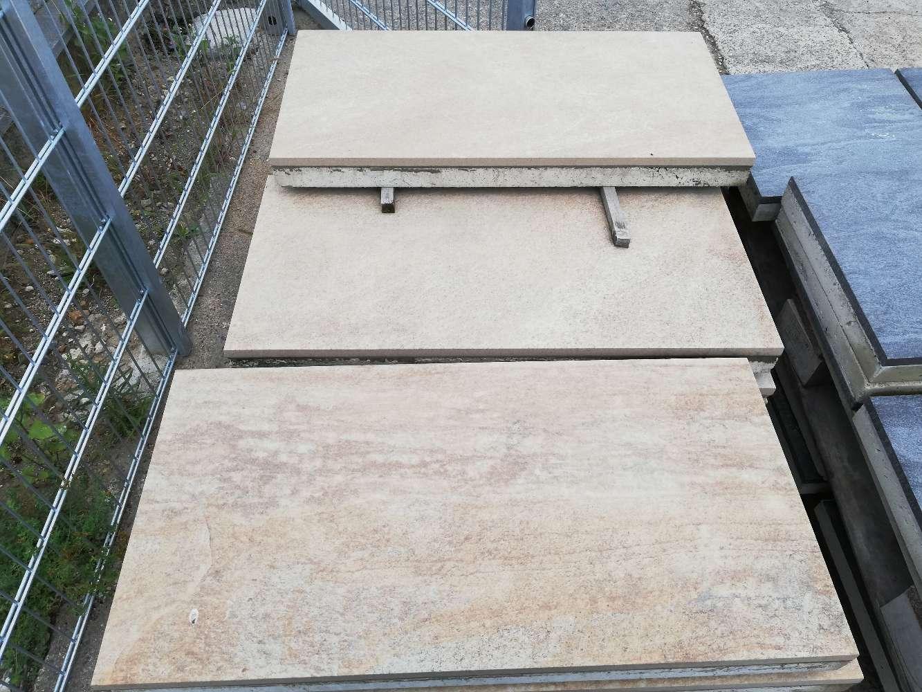 Keramik Terrassenplatte gelb-ocker 40/80/2+2cm mit Betonkern