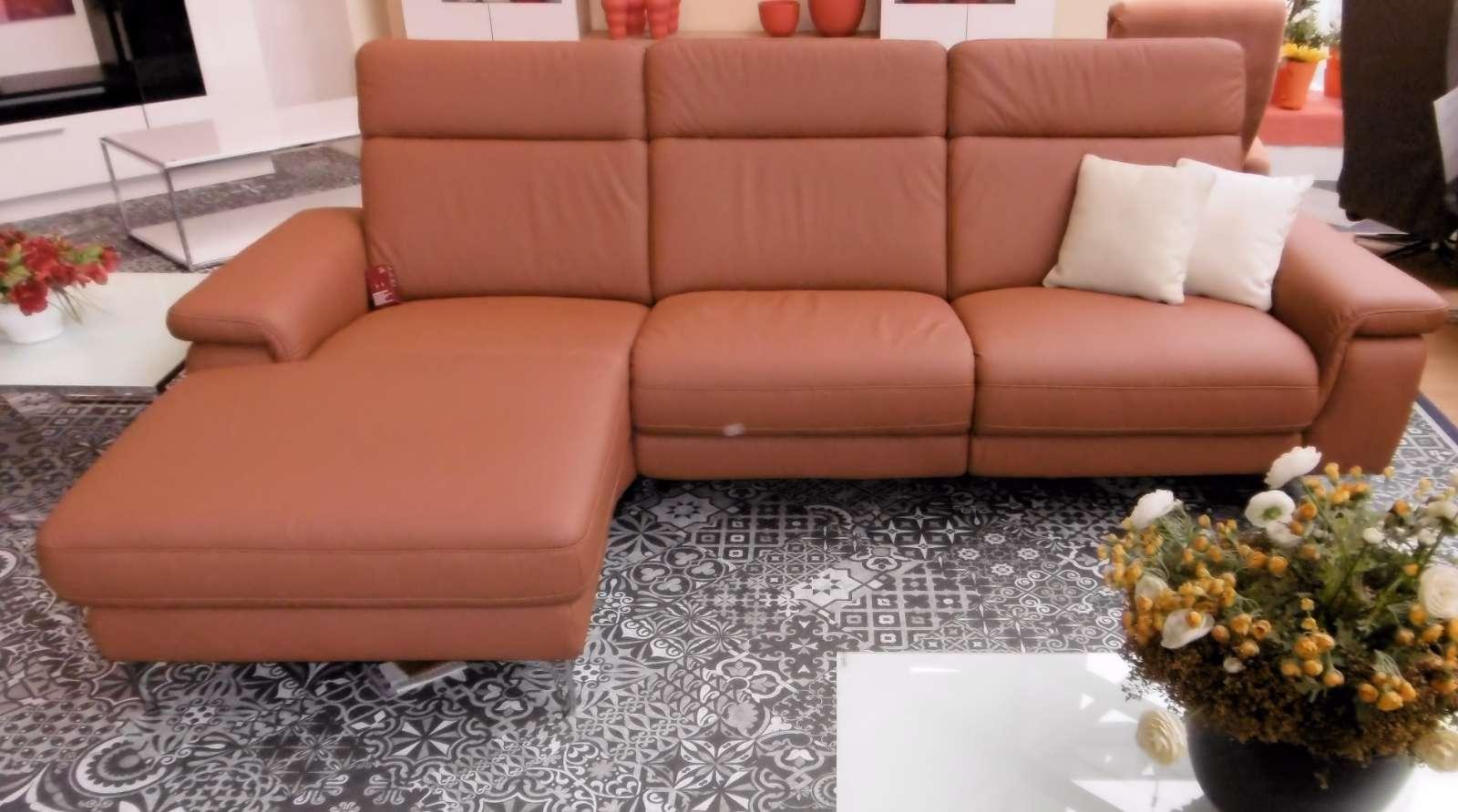 Ecksofa-Longchair + 2,5 Sitzer, echt Leder
