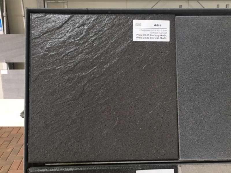 Adra Terrassenplatten 40x40x3,8 cm anthrazit nuanciert (Restposten)