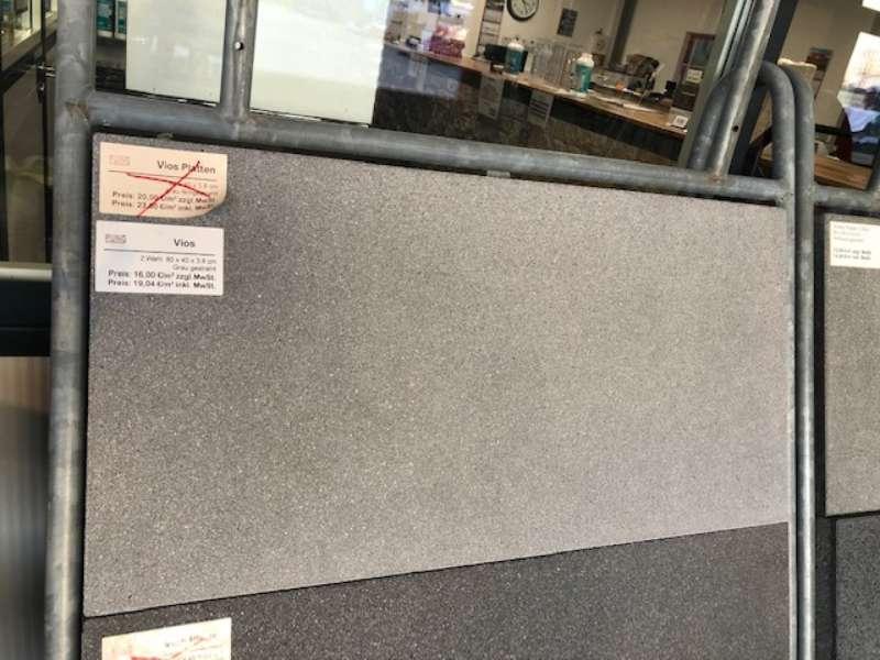 Vios Terrassenplatten 80x40x3,8 cm grau gestrahlt (2.Wahl)