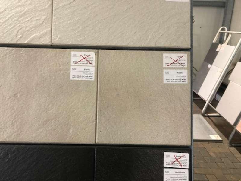 Farini Terrassenplatten 40x40x3,8 cm beige meliert strukturiert (2.Wahl)