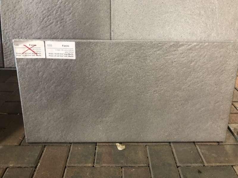 Farini Terrassenplatten 80x40x3,8 cm grau meliert strukturiert (2.Wahl)