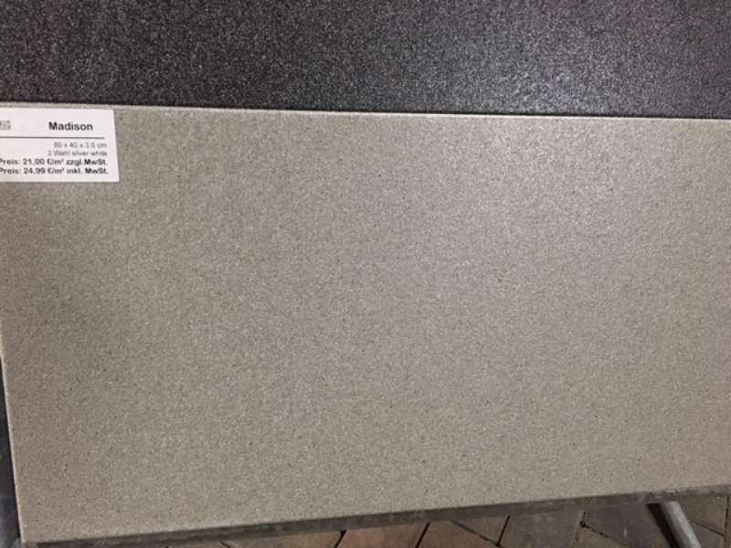 Madison Terrassenplatten 80x40x3,6 cm silver white (2.Wahl)