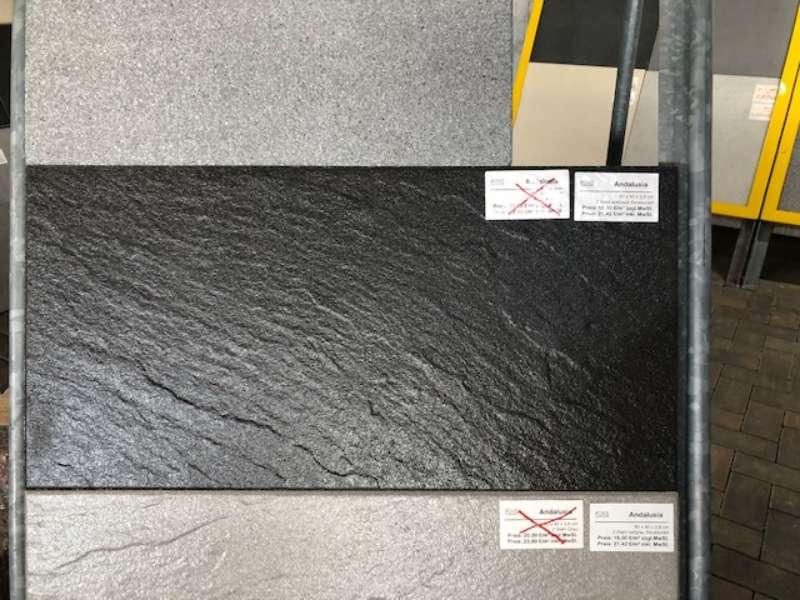Andalusia Terrassenplatten 80x40x3,8 cm anthrazit strukturiert (2.Wahl)
