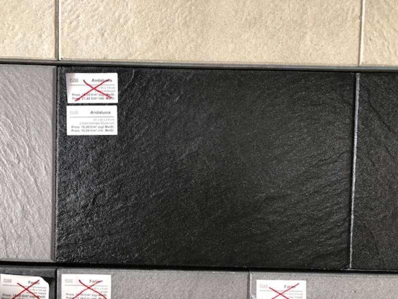 Andalusia Terrassenplatten 60x40x3,8 cm anthrazit strukturiert (2.Wahl)