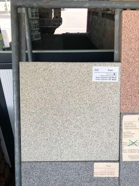 Fiori Terrassenplatten 40x40x3,6 cm sandbeige geschliffen & gestrahlt (2.Wahl)