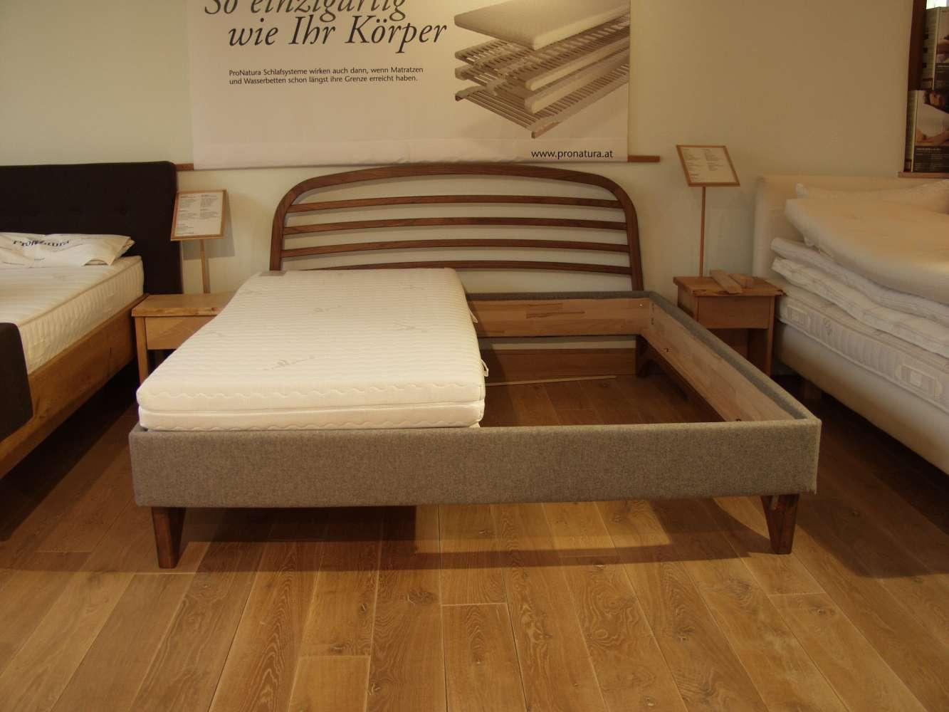 dormiente Bett Livletto 180*200 Nußbaum, Dekobezug Seiten: Earth/Hessian Schurwolle