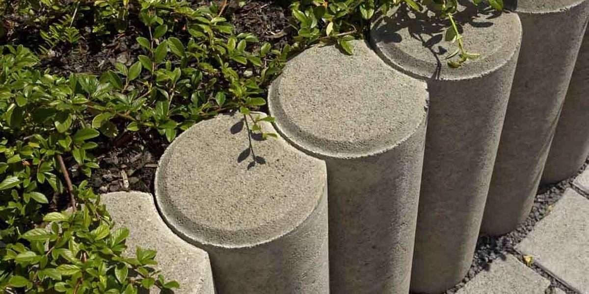 Gekehlte Rundpalisade 11 cm drm. x 30 cm hoch grau (Restposten)