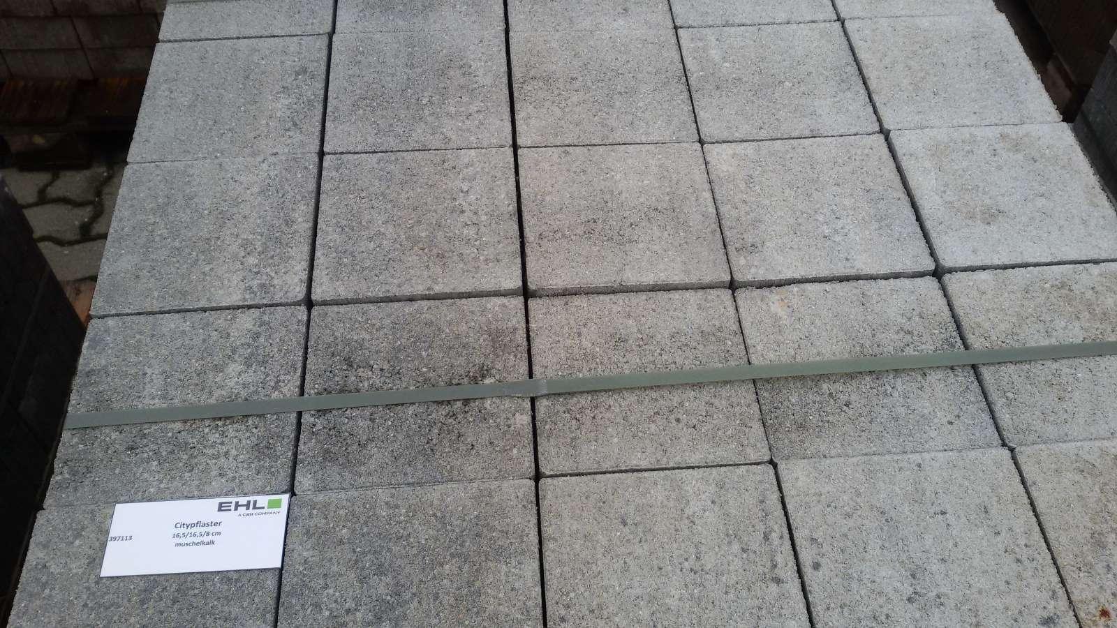 Citypflaster 16,5/16,5/8 cm muschelkalk 2. Wahl