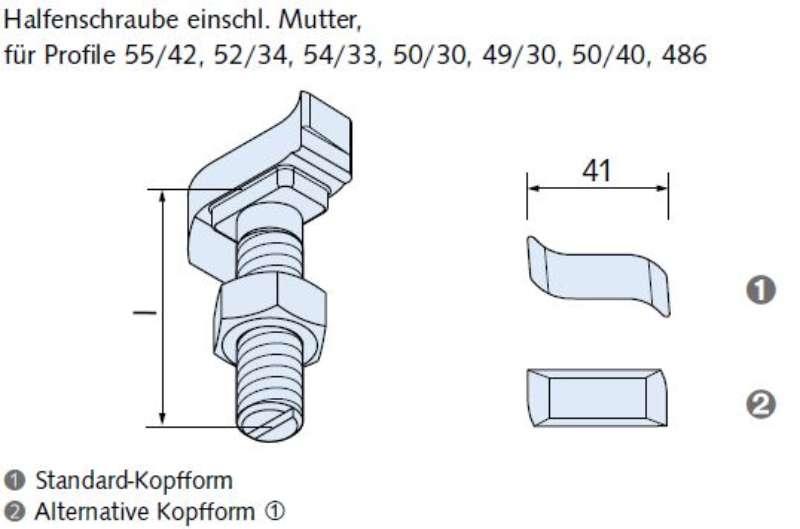 Halfenschraube HS 50/30-A4-M20x150mm