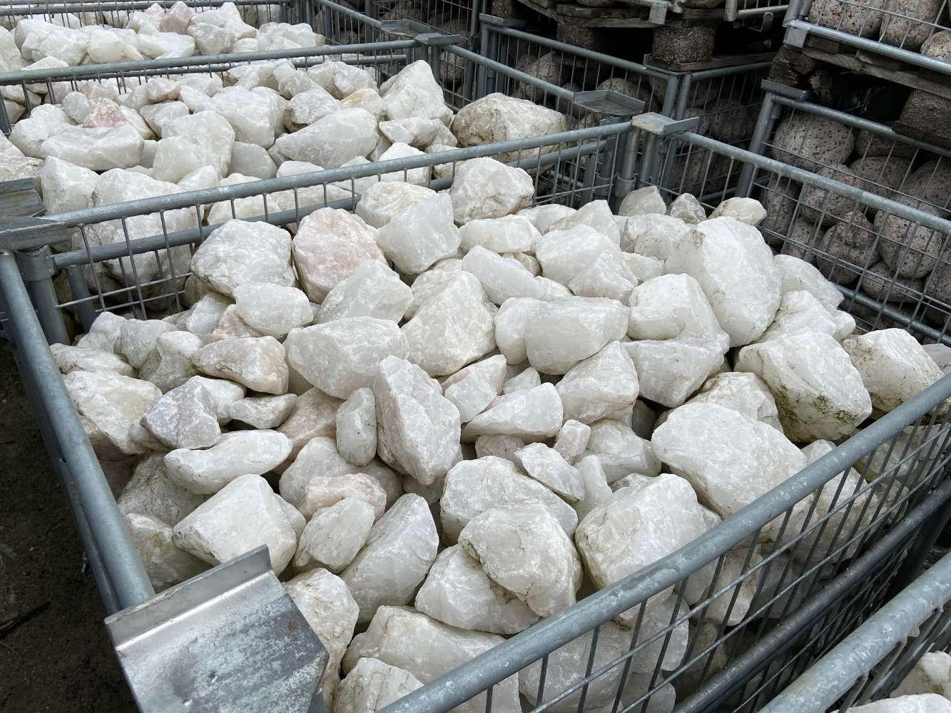 Quarzbrocken weiss 50-200mm Gitterbox 1000kg