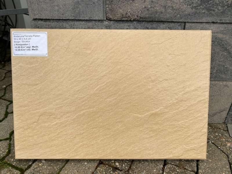 Andalusia/Terralis Exclusiv Platten 60x40x4,4 cm Beige Schieferstruktur (Restposten)