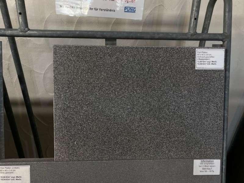 Fiori Platten 60x40x3,8 cm anthrazit geschliffen ( Restposten )