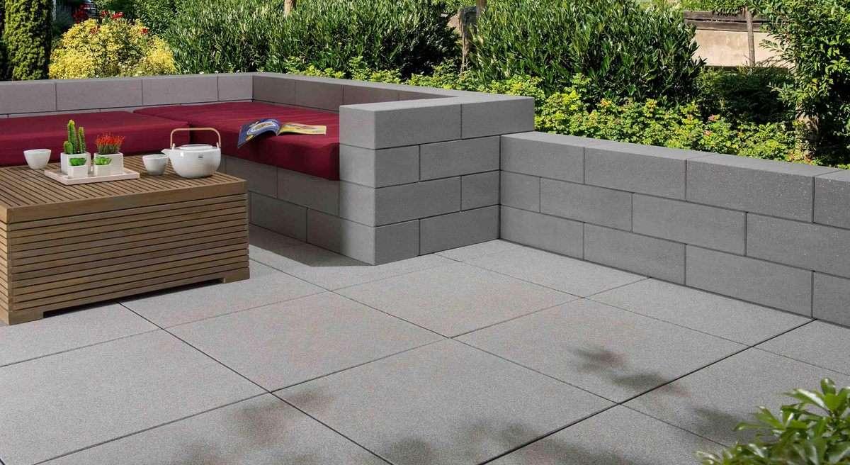 Vanity Mauer (Restposten) hellgrau verschiedene Elemente Vollsteine