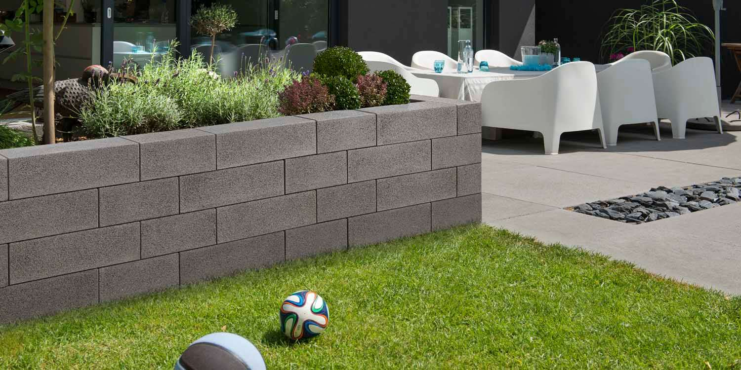 Vios Mauer anthrazit feingestrahlt 67,5×22,5 x 16,5 und 45×22,5×16,5 cm  (2.Wahl)