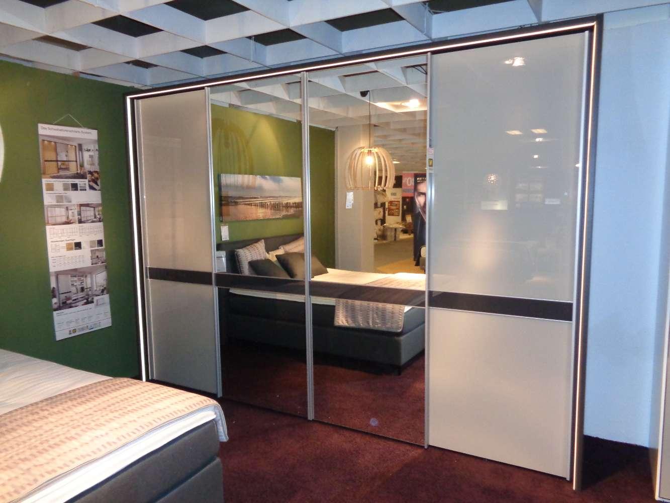 Schwebetürenschrank in Glas Kieselgrau mit Spiegeltüren