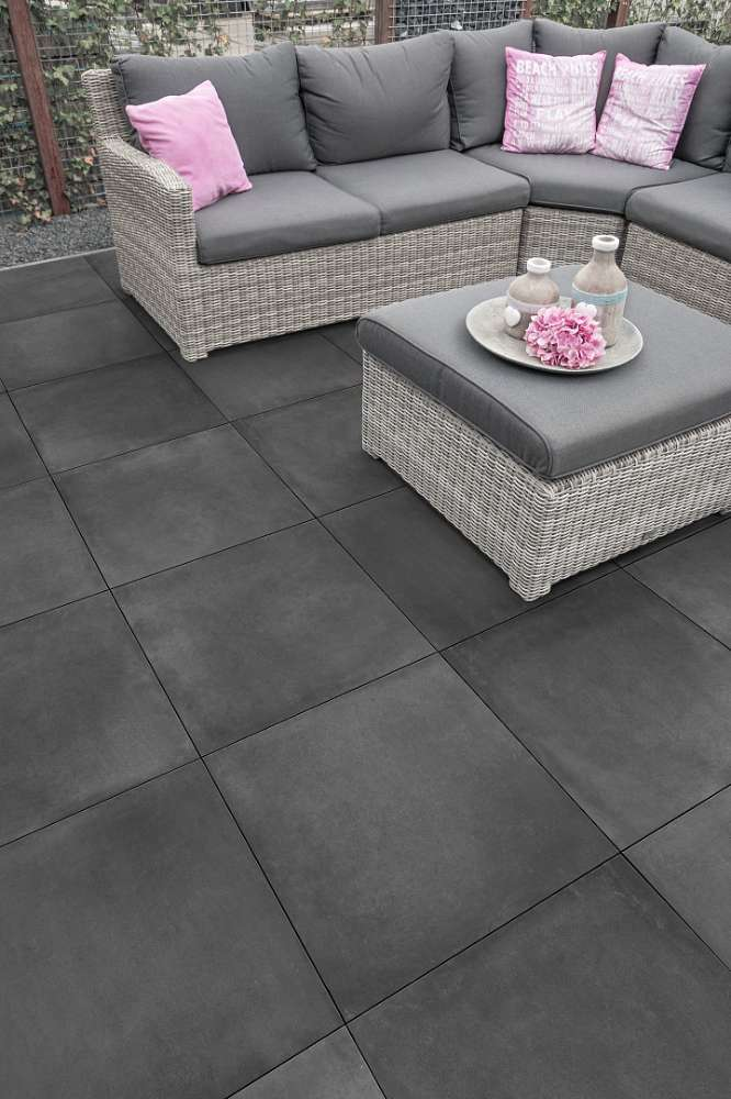 Keramik Concrete Look Black 2.0 60x60x2 cm anthrazit Keramische Fliese
