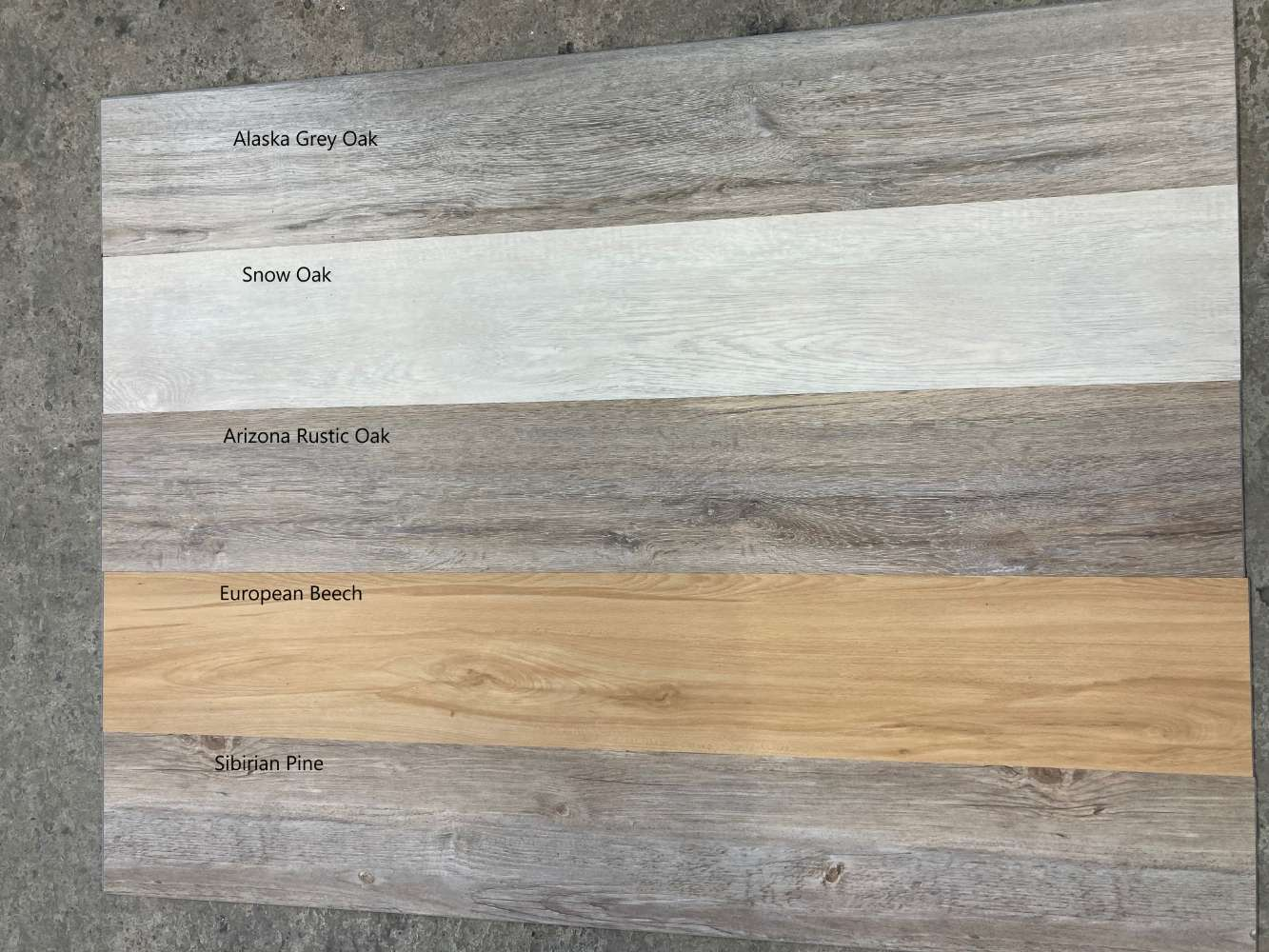 Snow Oak / Sibirian Pine / Alaska Grey Oak / Arizona Rustic Oak / European Beech