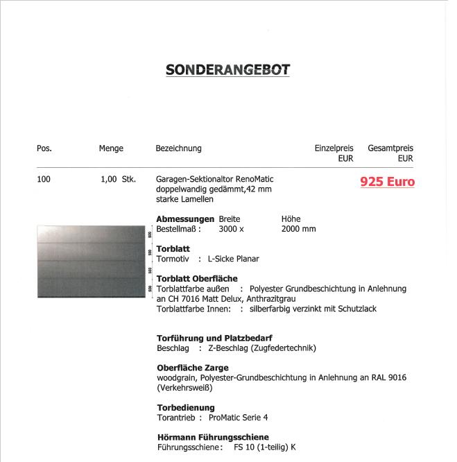 Sonderposten ab 600€ Sektionaltore Garagentore Hörmann Novoferm