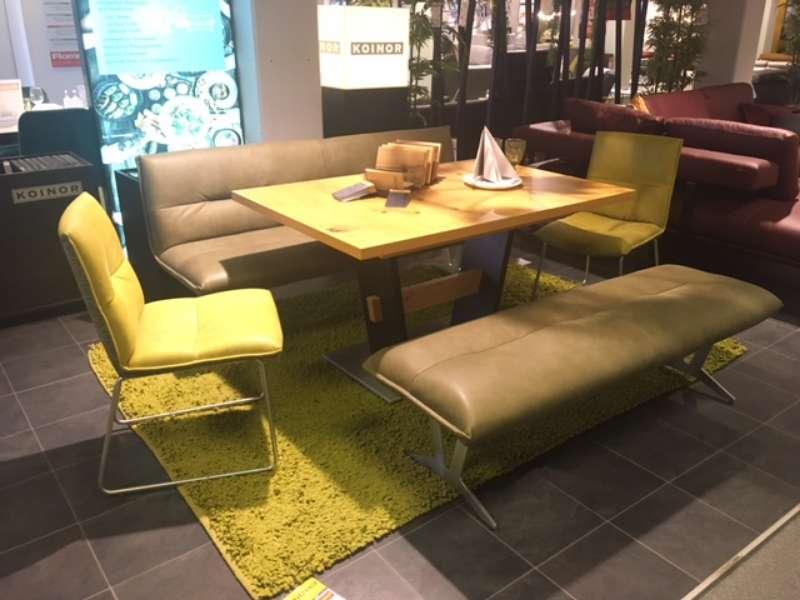 Essgruppe mit ausiehbarem Tisch, 2 Stühlen, Bank und Hockerbank