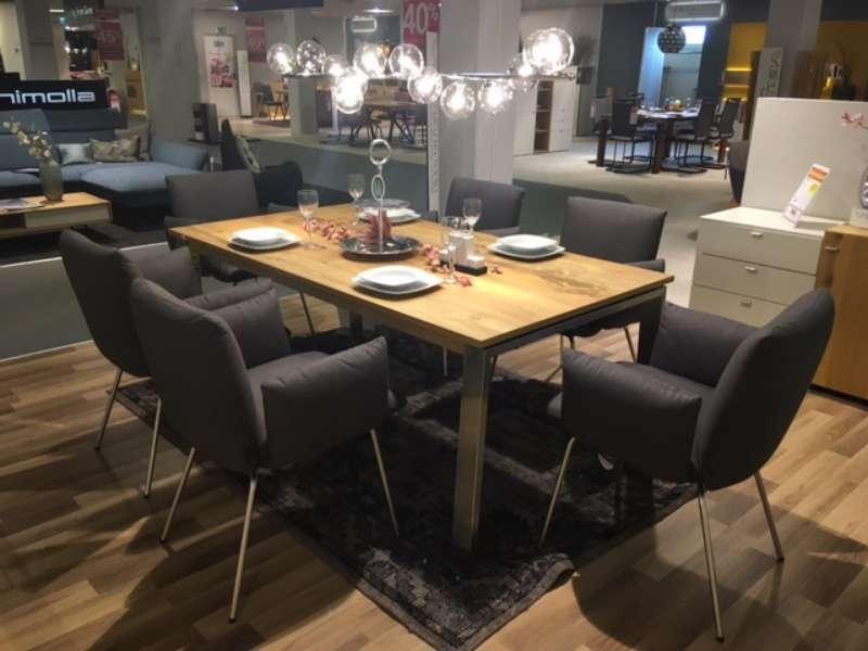 Essgruppe mit ausziehbarem Tisch in Eiche rustico und 6 Stühlen