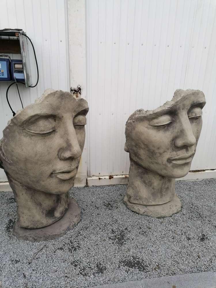 Gesicht Steinguss Skultur Figur Gartendeko
