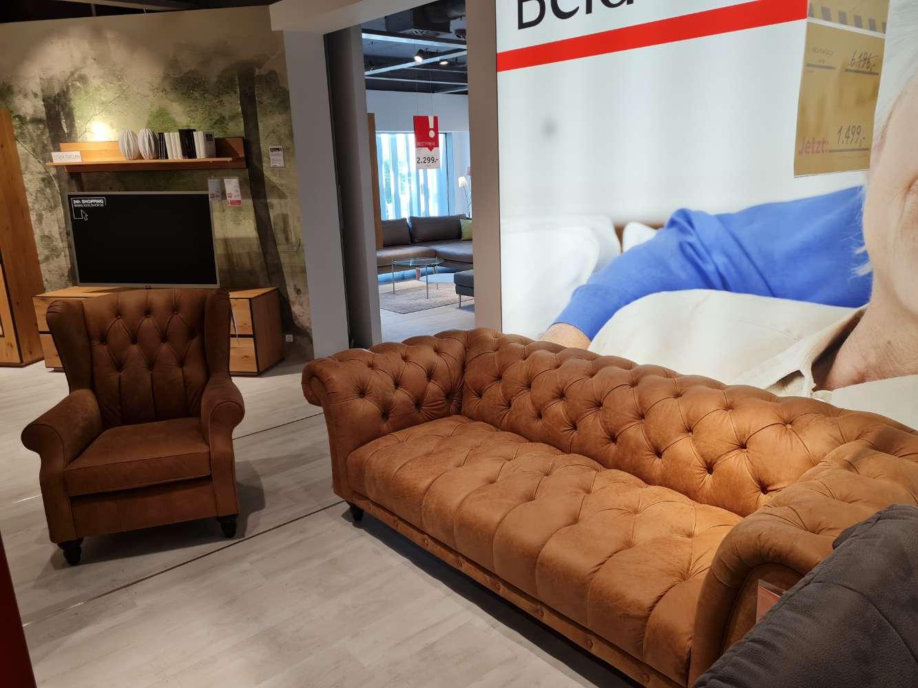 Chesterfield-Sofa & Sessel Vintage Hellbraun Wohnzimmer XXXLutz Heilbronn
